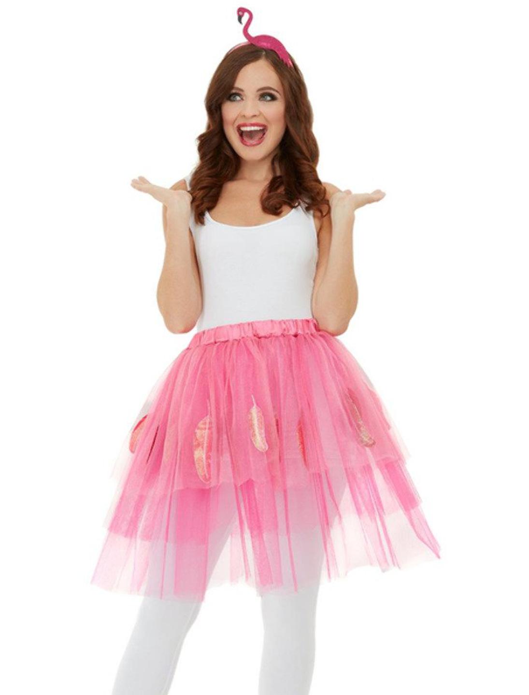 Damen-Kostuem Flamingo-Set pink 2-tlg. Grosse: One Size