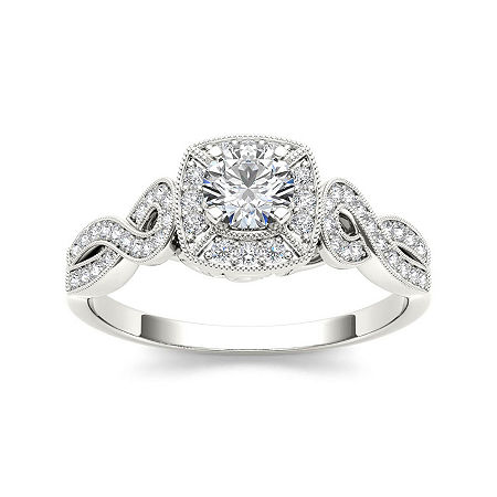 1/2 CT. T.W. Diamond 14K White Gold Engagement Ring, 8 , No Color Family