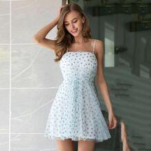 Double Crazy Glitter Heart Mesh Overlay Cami Dress