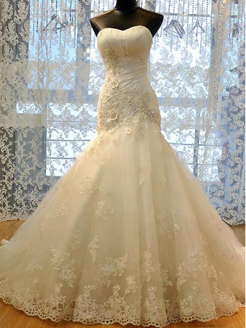 Ericdress Sweetheart Floral Appliques Mermaid Wedding Dress