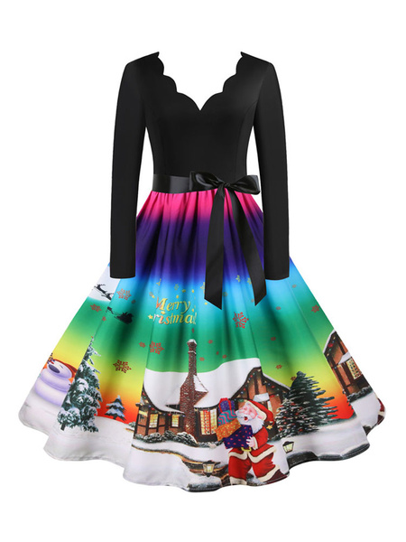 Milanoo Christmas Vintage Dress 1950s Black Silver Pattern Layered Woman\\s Zipper Long Sleeves V-Neck Rockabilly Dress
