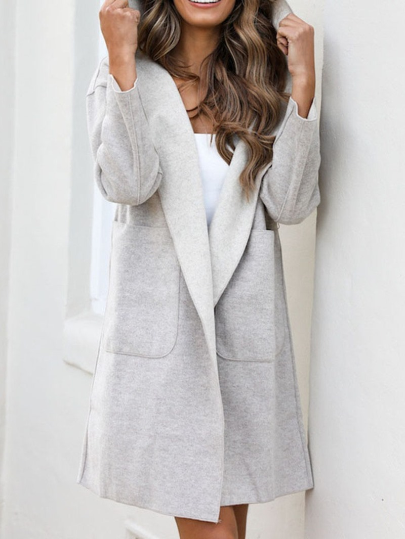 Ericdress Pocket Loose Mid-Length Hooded Overcoat