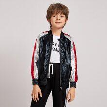 Jungen metallische Jacke mit Reissverschluss und Farbblock