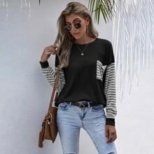 Pullover mit Farbblock, Streifen und Taschen vorn