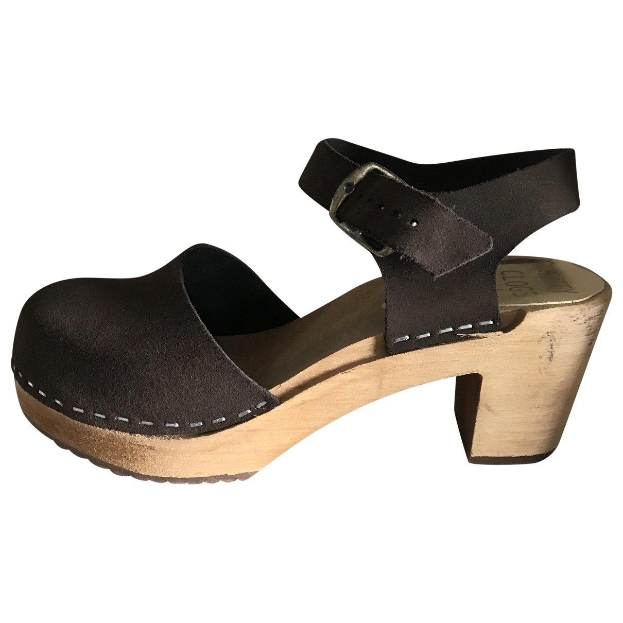 Non Signé / Unsigned \N Brown Leather Mules & Clogs for Women 38 EU