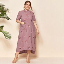Plus Buttoned Half Placket Patch Pocket Floral Embroidered Asymmetrical Hem Dress