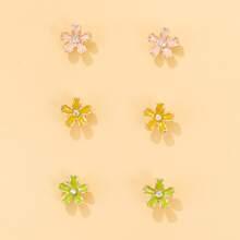 3 Paare Ohrringe mit Blumen Design