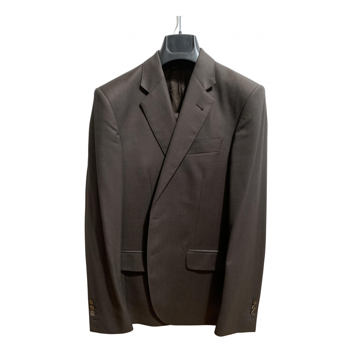 Non Signé / Unsigned N Brown Wool Suits for Men 48 IT