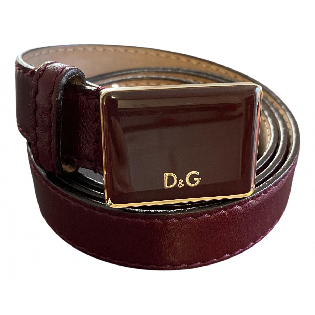 D&g \N Guertel in  Bordeauxrot Leder