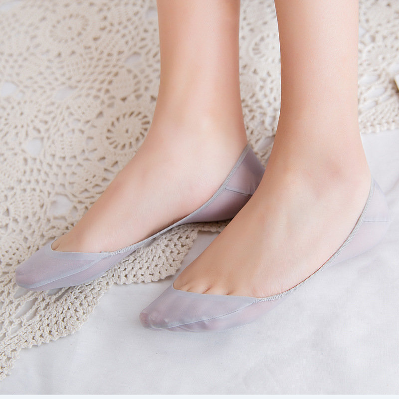 Women Summer Solid Color Thick Ped Invisible Boat Socks Thin Breathable Shallow Mouth Socks