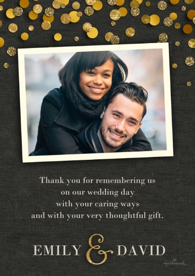 Wedding Thank You 5x7 Cards, Standard Cardstock 85lb, Card & Stationery -Gold Dots Thank You