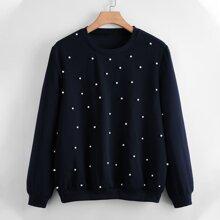 Sweatshirt mit Perlen Dekor