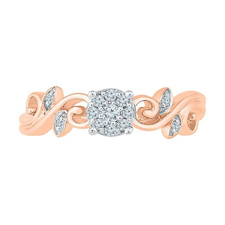 Promise My Love Womens Diamond Accent Genuine White Diamond 10K Rose Gold Promise Ring, 4 , No Color Family