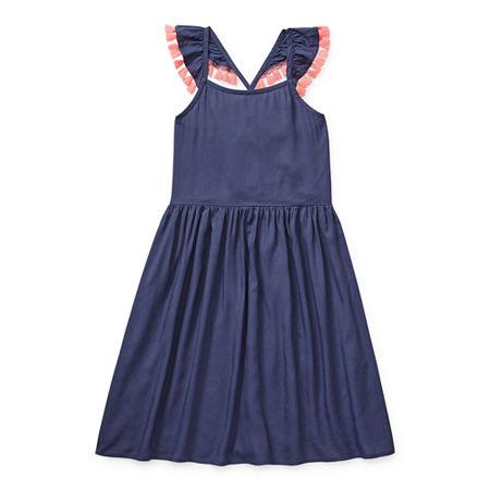 Arizona Little & Big Girls Sleeveless A-Line Dress, 16.5 Plus , Blue