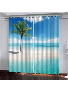 3D Sea Scenery Decorative Fashion Simple Curtain for Living Room Bedroom