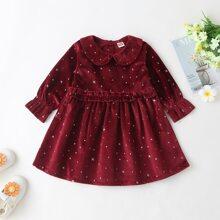 Baby Girl Doll Collar Galaxy Velvet Dress