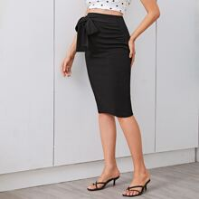 Maternity Tie Waist Pencil Skirt
