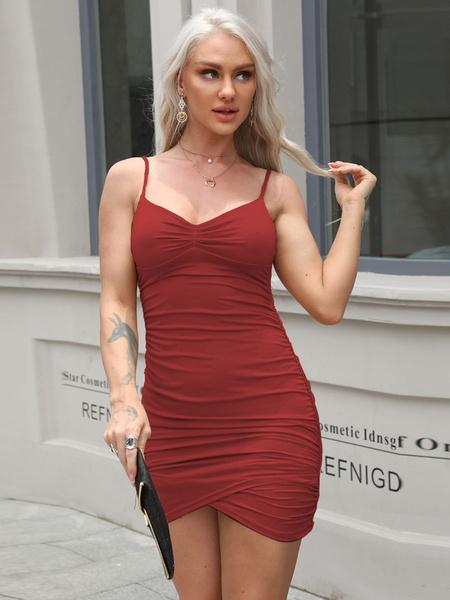 Milanoo Bodycon Dresses Khaki Sleeveless Pleated Sexy Straps Neck Slim Fit Sheath Dress