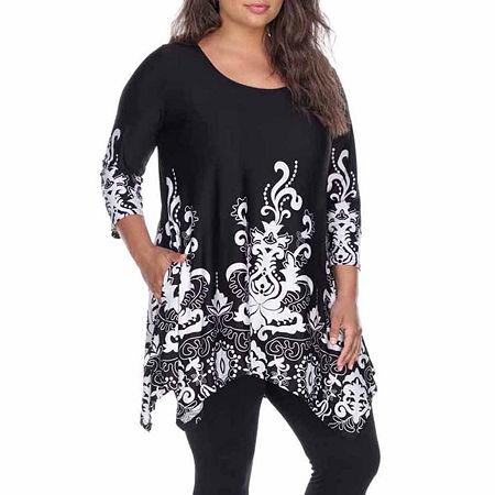 White Mark-Plus Yanette Womens Scoop Neck 3/4 Sleeve Tunic Top, 5x , Black