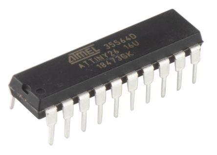 Microchip ATTINY26-16PU, 8bit AVR Microcontroller, AVR, 16MHz, 2 kB Flash, 20-Pin PDIP (5)