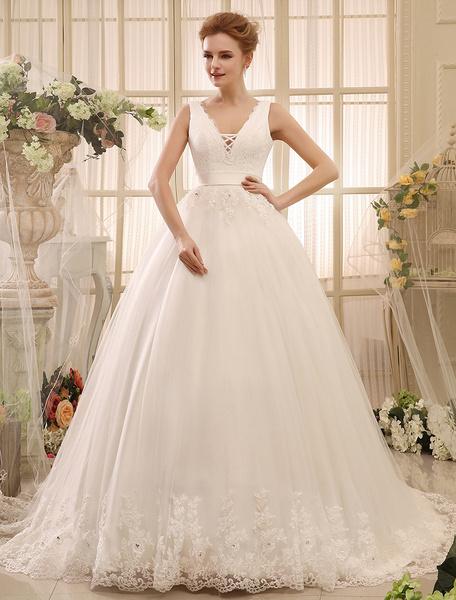 Milanoo Vestidos de novia vestido de novia vestido de novia sin respaldo de cuello en V con cuello en V apliques de encaje cinturon de la capilla vest