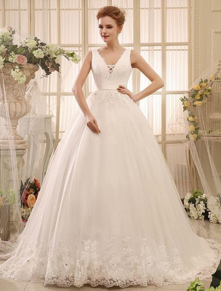 Milanoo Wedding Dresses Ball Gown Bridal Dress Backless Ivory V Neck Lace Applique Ribbon Sash Chapel Train Bridal Gown