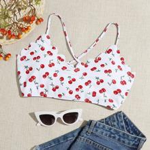 Cherry Print Scallop Trim Bikini Top