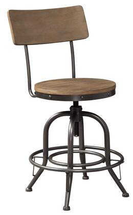 Pinnadel Collection D542-324 Counter Height Bar Stool (Set of 2) with Faux Rivet Accents  360-Degree Swivel and Adjustable Seat Height in Light