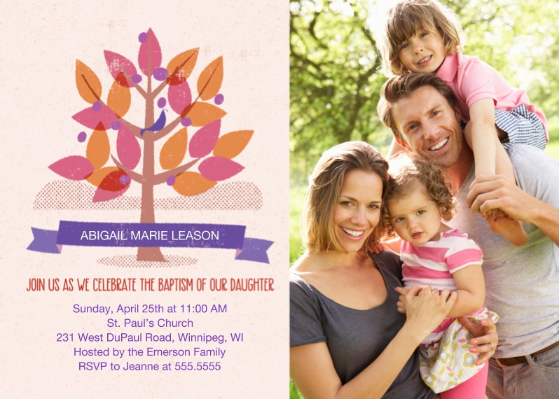 Baptism Invitations 5x7 Cards, Premium Cardstock 120lb with Scalloped Corners, Card & Stationery -Girl Baptism Tree