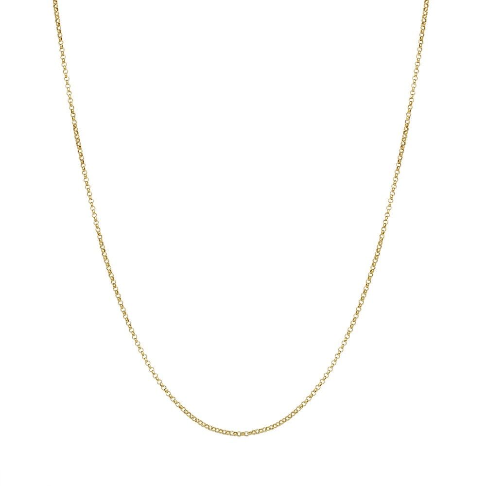14k Yellow Gold Diamond-cut Rolo Chain Necklace (16-inch)
