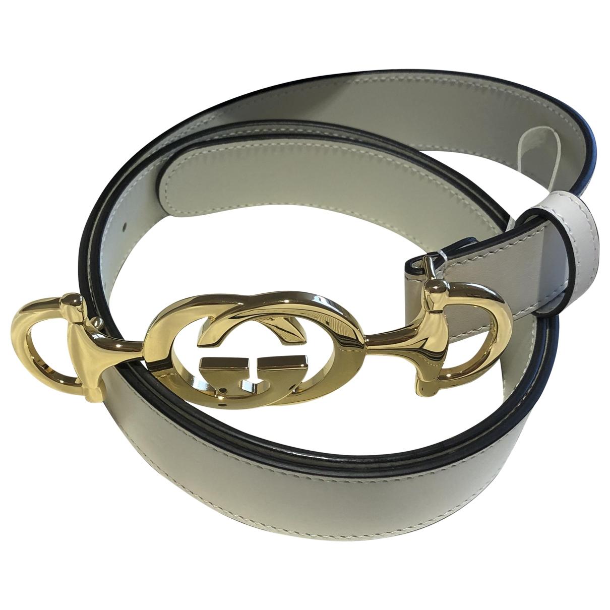 Gucci Interlocking Buckle White Leather belt for Women 95 cm