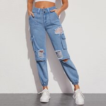 Pocket Side Ripped Cargo Jeans