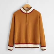 Boys Contrast Trim Zipper Half Placket Sweater