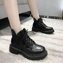V-cut Lace-up Combat Boots