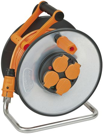 brennenstuhl 33m 4 Socket NF Extension Reel, IP44, Grey