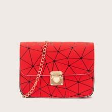 Geometric Graphic Push Lock Flap Chain Bag