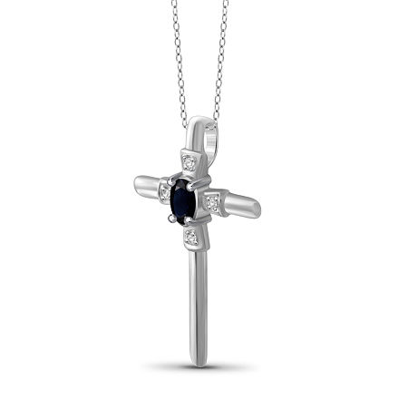 Womens Diamond Accent Genuine Blue Sapphire Sterling Silver Pendant, One Size , No Color Family