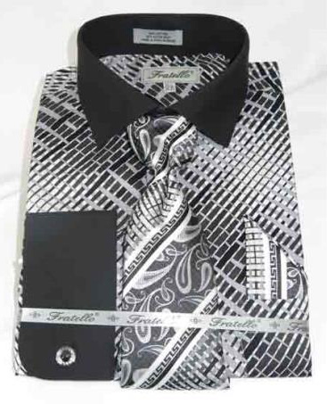 Black Mens Multi Pattern Cotton French Cuff With Collar Dress Shirt