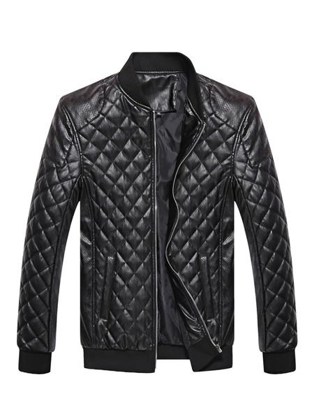 Milanoo Blue Biker Jacket Quilted Diamond Pattern Zipper Pu Leather Jacket For Men