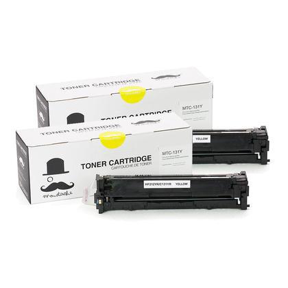 Compatible Canon 131Y cartouche d'encre jaune - Moustache - 2/paquet