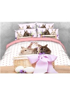 Two Cute Rabbits In The Bamboo Basket 3D Printed 4-Piece Polyester Bedding Sets/Duvet Covers