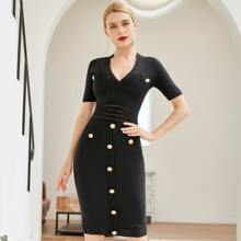 Adyce Zip Back Button Front Bodycon Dress