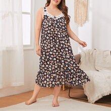 Plus Lace Trim Floral Print Cami Night Dress