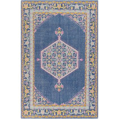 Zahra ZHA-4051 8' x 11' Rectangle Traditional Rugs in Navy  Bright Pink  Bright Yellow  Pale Pink  Aqua  Medium