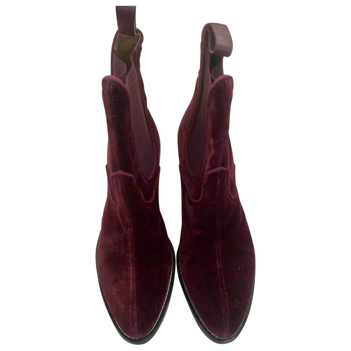 Chloe - Boots   pour femme en velours - bordeaux