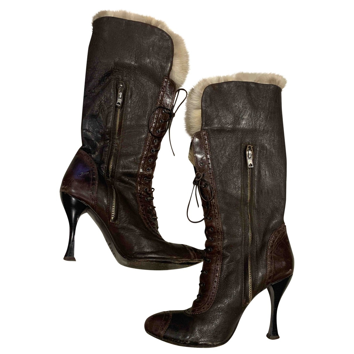 Pinko \N Brown Leather Boots for Women 39 IT