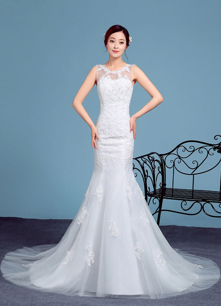 Milanoo Sirena Vestido de encaje apliques ilusion sin mangas vestido de novia novia novia vestido de novia