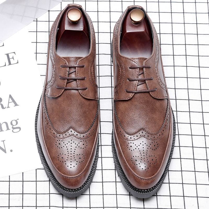 Ericdress PU Color Block Lace-Up Pointed Toe Men's Oxfords