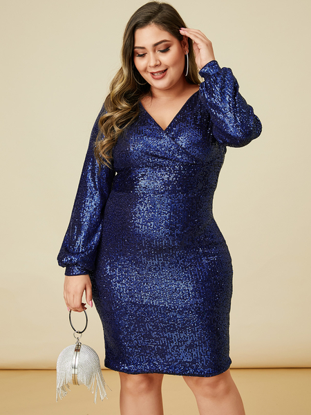 YOINS Plus Size Navy Wrap Design Long Sleeves Dress