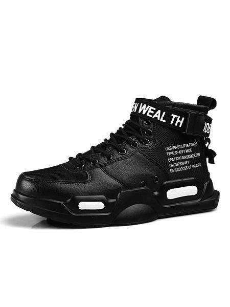 Milanoo Zapatillas para hombre Cozy Monk Strap Canvas Round Toe High Top Zapatos para hombre